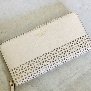Kate Spade White Perforated Zip Wallet
